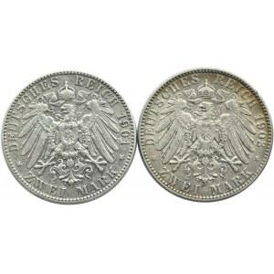 Niemcy, Saksonia, lot dwóch sztuk 2 marki 1901, 1903 E, Muldenhütten