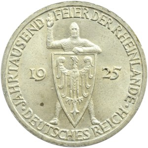 Niemcy, Republika Weimarska, 3 marki 1925 A, Rheilande, UNC