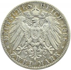 Niemcy, Hamburg, 2 marki 1898 J, Hamburg, rzadkie