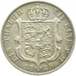 Niemcy, Hannover, Ernst August, 1 talar 1849 B, Hannover, rzadki!