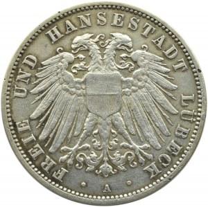 Niemcy, Lubeka, 3 marki 1910, Berlin, rzadkie