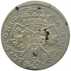 Jan III Sobieski, szóstak 1681, Kraków, litera C pomiędzy cyframi herbami