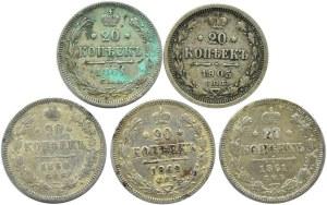 Rosja, Aleksander II/Mikołaj II, lot 20 kopiejek 1860-1905, 5 sztuk, Petersburg
