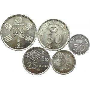 Hiszpania, MŚ 1982, lot 5 monet, proof