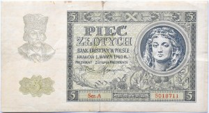 Polska, Generalna Gubernia, 5 złotych 1940, seria A, Kraków, rzadkie