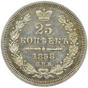 Rosja, Aleksander II, 25 kopiejek 1858 FB, Petersburg, UNC-