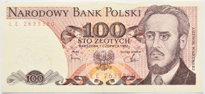 Polska, PRL, 100 złotych 1982, seria LE, Warszawa, UNC