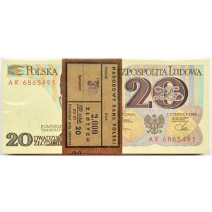 Polska, PRL, paczka bankowa 20 złotych 1982, seria AR