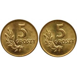 Polska, RP, 5 groszy 1949, Bazylea, dwa wspaniałe rewelacyjne egzemplarze (1)
