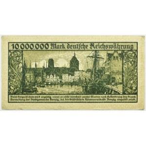 Wolne Miasto Gdańsk, 10 milionów marek 1923, seria A, nieodwrócony napis