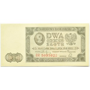 Polska, RP, 2 złote 1948, seria BR, UNC/UNC-