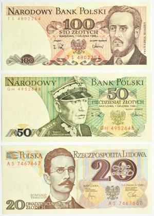 Polska, PRL, lot banknotów 20-100 złotych, UNC