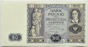 Polska, II RP, 20 złotych 1936, seria BŁ, piękne