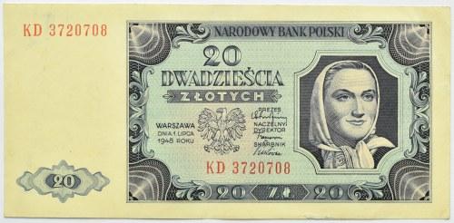 Polska, RP, 20 złotych 1948, seria KD, Warszawa