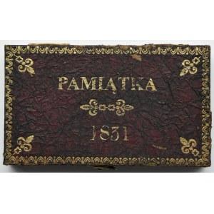 Polska, Powstanie Listopadowe, Pamiątka-pudełko na monety z roku 1831, bordowe ze złoceniami