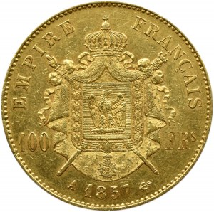 Francja, Napoleon III, 100 franków 1857 A, Paryż