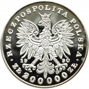Polska, III RP, 200000 złotych 1990, T. Kościuszko, Duży Tryptyk, UNC