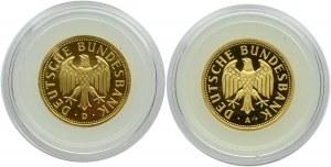 Niemcy, RFN, 2 x 1 marka 2001 A/D, złoto, Berlin/Monachium