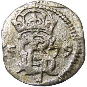 Kurlandia, G. Ketler (monogram Stefana Batorego), dwudenar 1579, Mitawa R4 (59)
