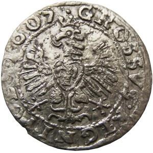 Zygmunt III Waza, grosz 1607 korona, herb Lewart, Kraków