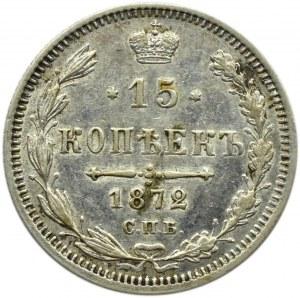 Rosja, Aleksander II, 15 kopiejek 1872 HI, Petersburg