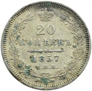 Rosja, Aleksander II, 20 kopiejek 1857 FB, Petersburg
