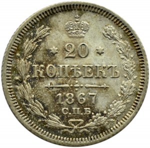 Rosja, Aleksander II, 20 kopiejek 1867 HI, Petersburg, UNC