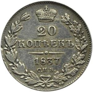 Rosja, Mikołaj I, 20 kopiejek 1837 HG, Petersburg