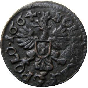 Jan II Kazimierz, szeląg (boratynka) 1664, Ujazdów, CIEKAWY i NIENOTOWANY
