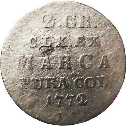 Stanisław A. Poniatowski, 2 grosze srebrne (półzłotek) 1772 I.S., Warszawa (R2)