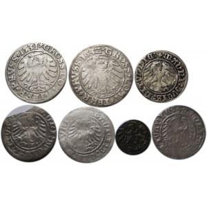 Zygmunt I Stary, lot 7 srebrnych monet, Elbląg/Wilno/Toruń
