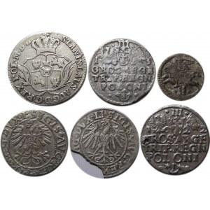 Zygmunt I Stary i następcy, 6 srebrnych monet z okresu Polski Królewskiej