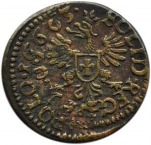 Jan II Kazimierz, szeląg (boratynka) 1663, Kraków, ciekawy destrukt! 16663