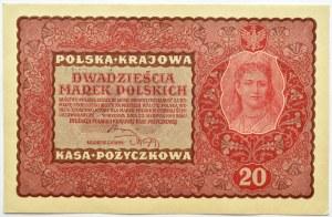 Polska, II RP, 20 marek 1919, II seria EK niski numer 001...