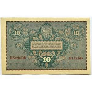 Polska, II RP, 10 marek 1919, II seria DB