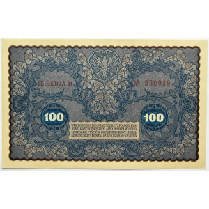 Polska, II RP, 100 marek 1919, IE seria H, UNC
