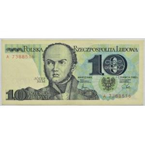Polska, PRL, J. Bem 10 złotych 1982, seria A