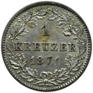 Niemcy, Wirtembergia, Karol I, 1 krajcar 1871, Stuttgart