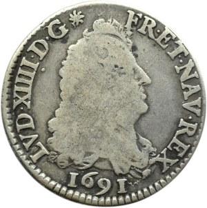 Francja, Ludwik XIV, 1/4 ecu 1691, Paryż