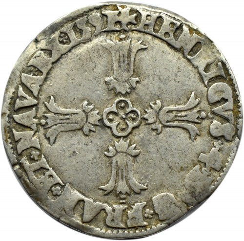 Francja, Henryk IV, 1/4 ecu 1591, Paryż