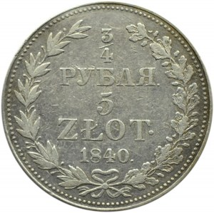 Mikołaj I, 3/4 rubla/5 złotych 1840 MW, Warszawa