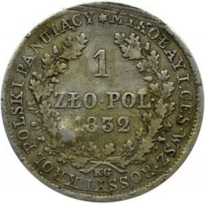 Mikołaj I, 1 złoty 1832 K.G., Warszawa, mała głowa cara