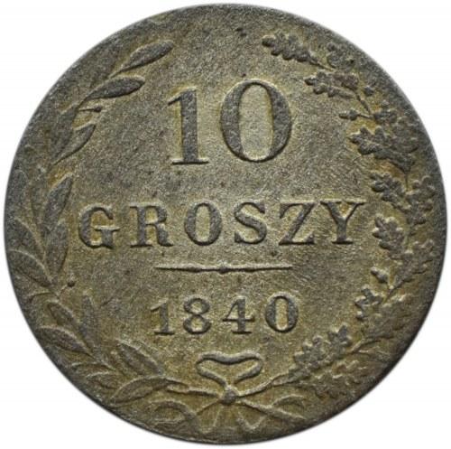 Mikołaj I, 10 groszy 1840 MW, Warszawa, ładne