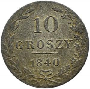 Mikołaj I, 10 groszy 1840 MW, Warszawa, adne