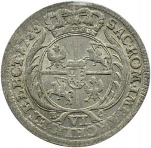 August III Sas, szóstak 1755 EC, Lipsk, bez kropki po dacie