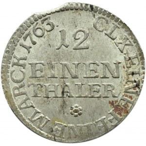 August III Sas, 1/12 talara 1763 FWoF, Drezno, bardzo ładne