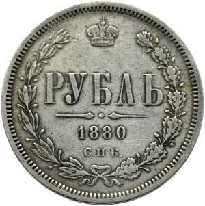 Rosja, Aleksander II, rubel 1880 HF, Petersburg, rzadki rocznik