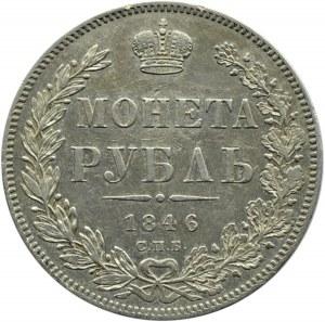 Rosja, Mikołaj I, 1 rubel 1846 PA, Petersburg, ładny