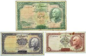 Iran, lot 3 banknotów 5,10,50 riali 1938