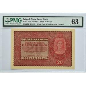 Polska, II RP, 20 marek 1919, II serja FC, Londyn, PMG 63